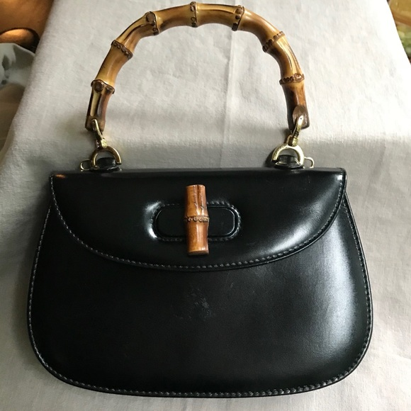 ab46e4cebab65 Gucci Bags | Vintage Bamboo Handle Black Leather Handbag | Poshmark
